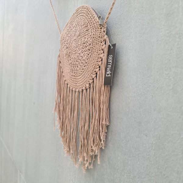 Cotton Crochet Sling Bag with Tassel Fringe - Taupe