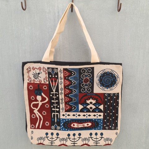 Embroidered Tote Bag -Tribal