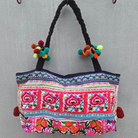 Embroidered Pom Pom Tote Bag - Pattern 2