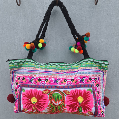 Embroidered Pom Pom Tote Bag - Pattern 1