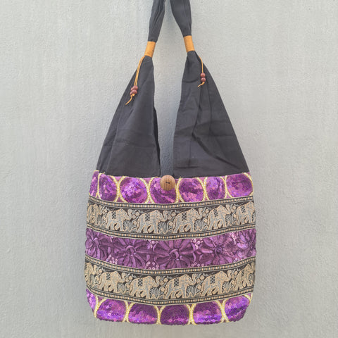 Thai Silk Shoulder Handbag  - Bag 1