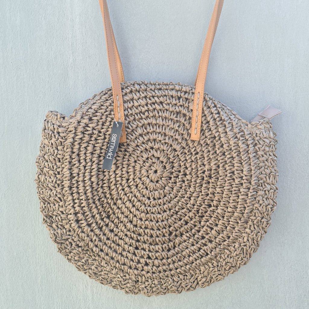 Crochet Basket Bag - Taupe
