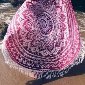 Ombre Pink Purple with Tassel Fringe