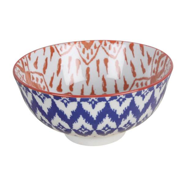 Blue + Orange Pattern Ceramic Bowl