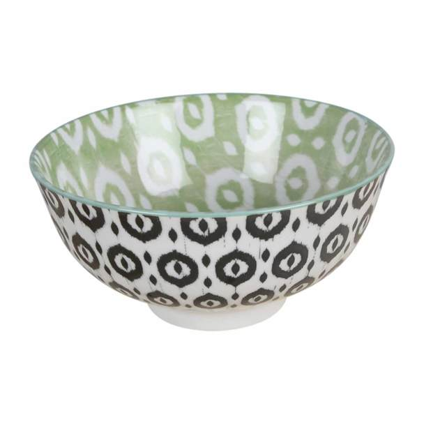Black + Green Pattern Ceramic Bowl