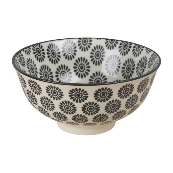 Black Flower Pattern Ceramic Bowl