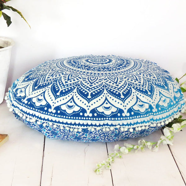Ombre Blue Floor Pillow Cover