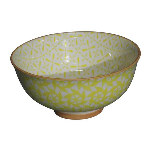 Yellow Pinwheel Pattern Ceramic Bowl
