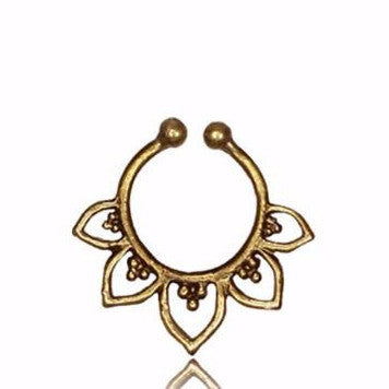 Tribal Brass Septum Ring - Clip On