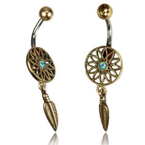 Turquoise & Brass Dream Catcher Bellyring