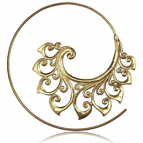 Brass Tribal Spiral Thread Hoop