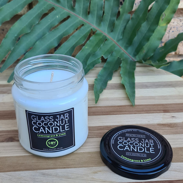 COCONUT CANDLE WITH LEMONGRASS & LIME 200ML - CLEAR