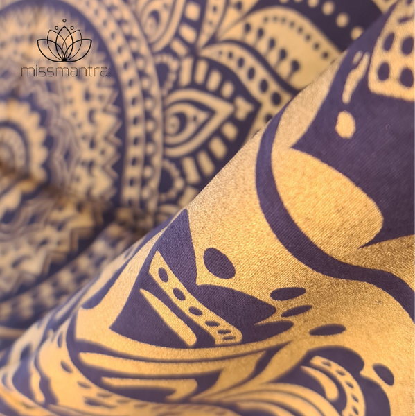 Navy and Gold Metalic Mandala Throw