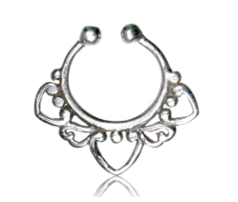 925 Ethnic Silver Septum Ring - Clip on