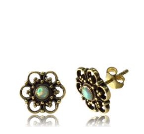 Flower Studs with opal stone