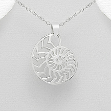 Nautilus Shell Sterling Silver Pendant