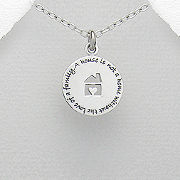 Sterling Silver Home Message Pendant