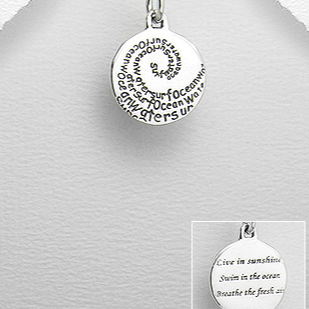 Sterling Silver Ocean Message Pendant