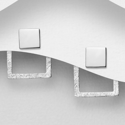 2 in 1 Matt Square Sterling Silver Jacket Stud Earrings