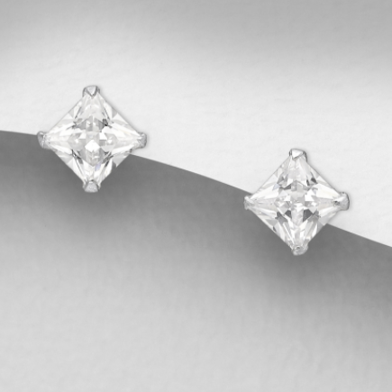 CZ Stud Earrings - 4mm Square