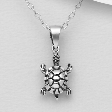 Oxidized Turtle Sterling Silver Pendant