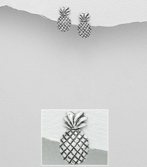 Pineapple Sterling Silver Stud Earrings
