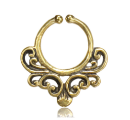 Brass Swirl Septum Ring - Clip On