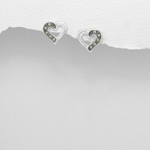 Sterling Silver Heart Stud Earrings (Decorated with Marcasite)