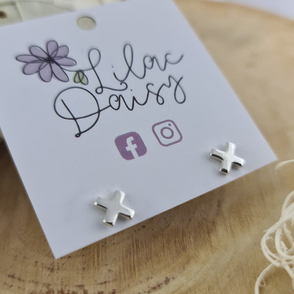 Criss Cross - Sterling Silver Stud Earrings