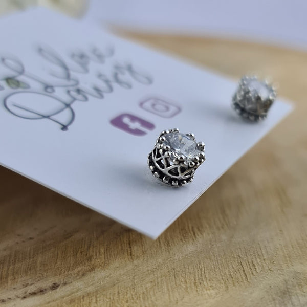 CZ Sterling Silver Stud Earrings with Detail