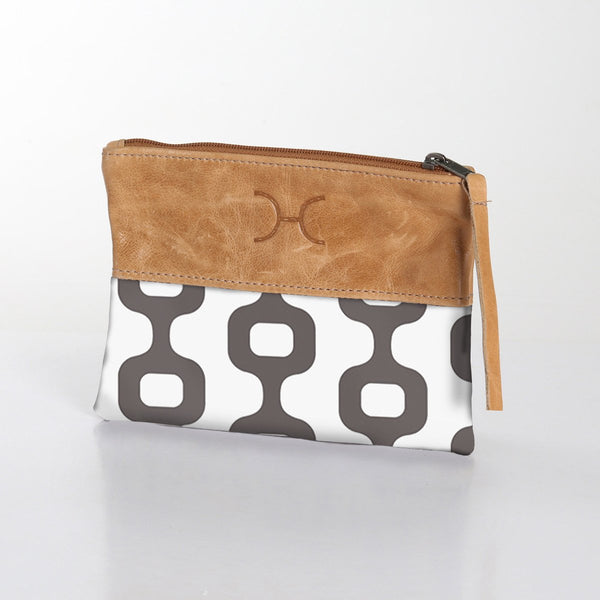 Fabric Pouch with Leather - Chain Reaction - Grey