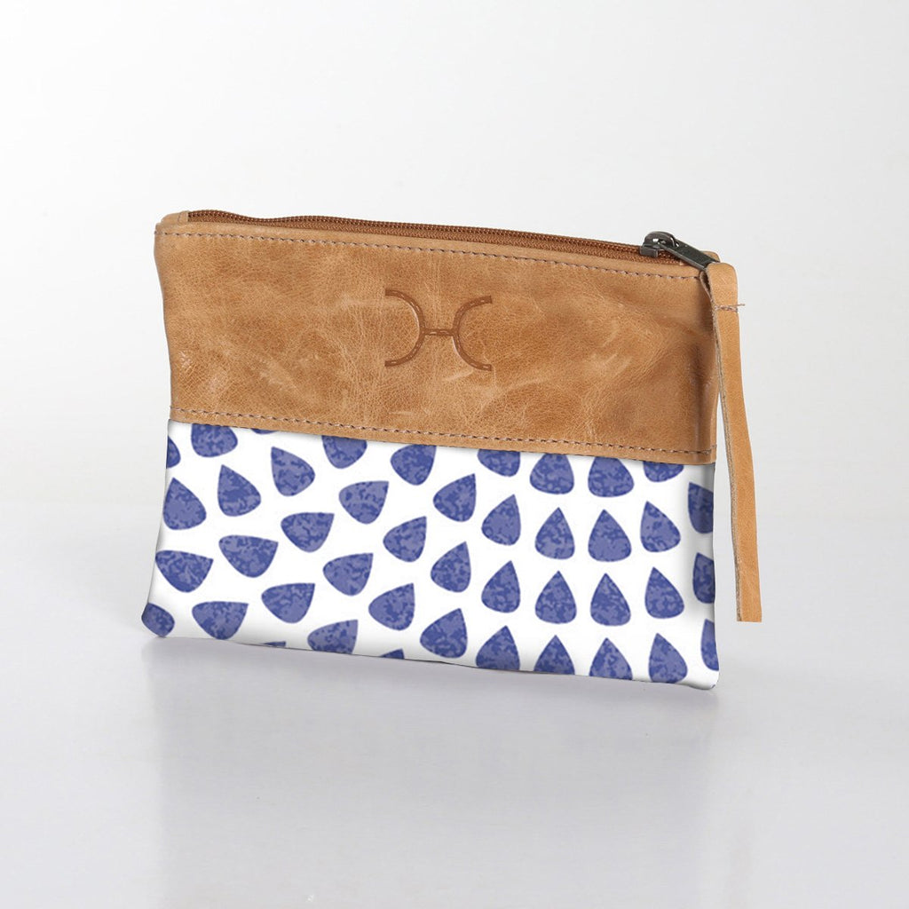 Fabric Pouch with Leather - Scale Away with me - Blue