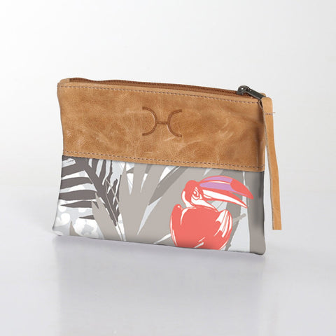 Fabric Pouch with Leather - Toucan Tango - Grey
