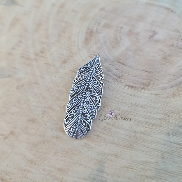 Oxidized Feather Sterling Silver Pendant