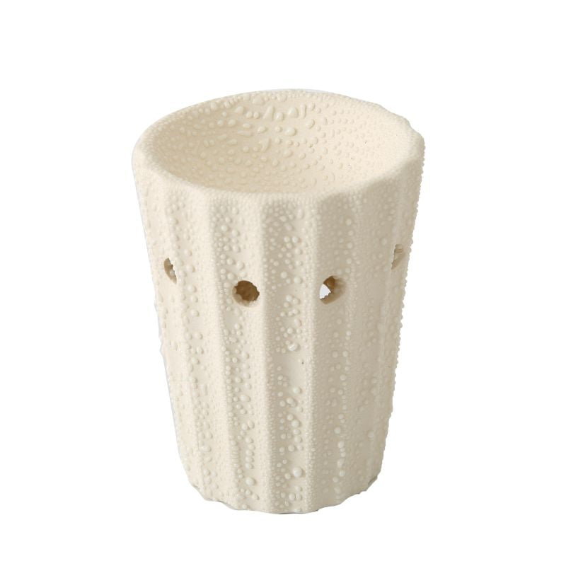 Cream Ceramic Oil Burner with Holes