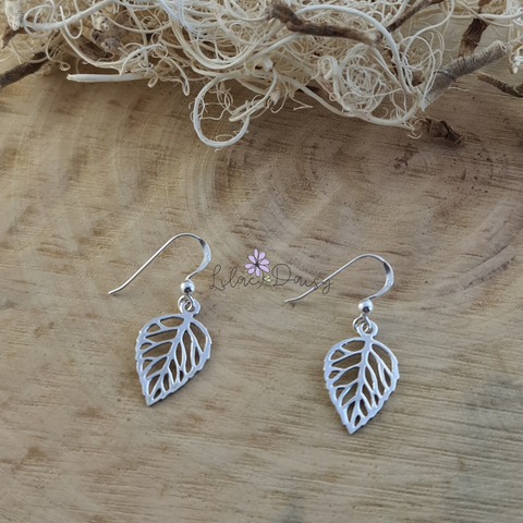 Sterling Silver Leaf Hook Earrings