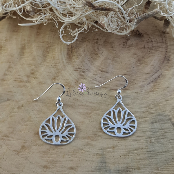 Sterling Silver Lotus Hook Earrings