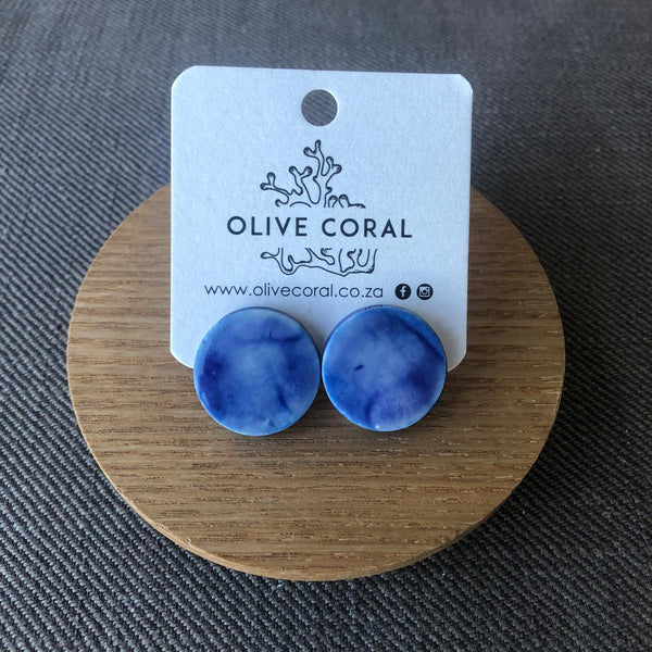 Blue Smudge Porcelain Stud Earrings