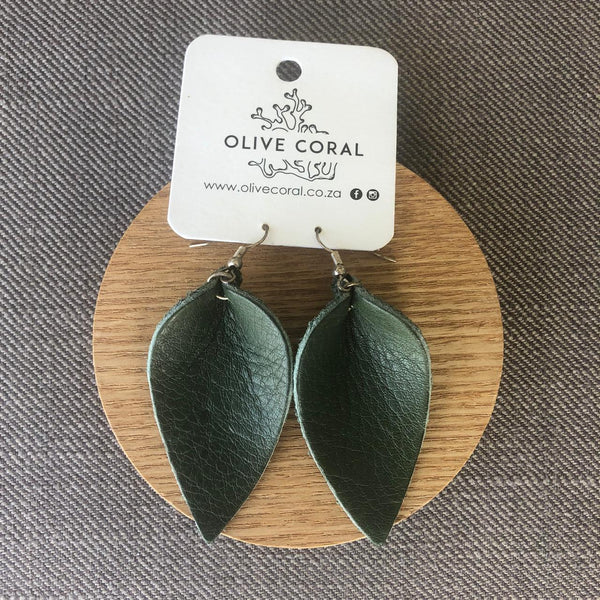 Single Flower Petal Leather Earrings
