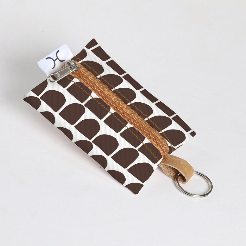 Key Ring Laminated Fabric - Anthill - White