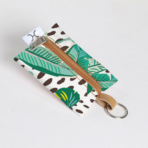 Key Ring Laminated Fabric - Spot the Leaf - White