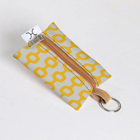 Key Ring Laminated Fabric - Chain Reaction - Yellow