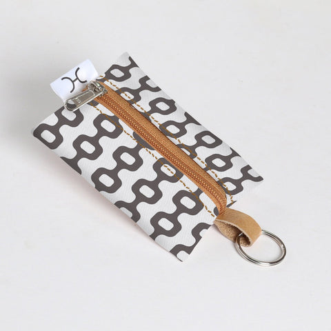 Key Ring Laminated Fabric - Chain Reaction - Grey