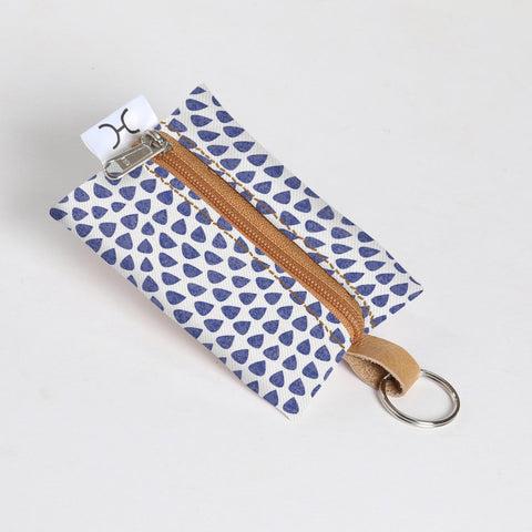 Key Ring Laminated Fabric - Scale Away with me - Blue