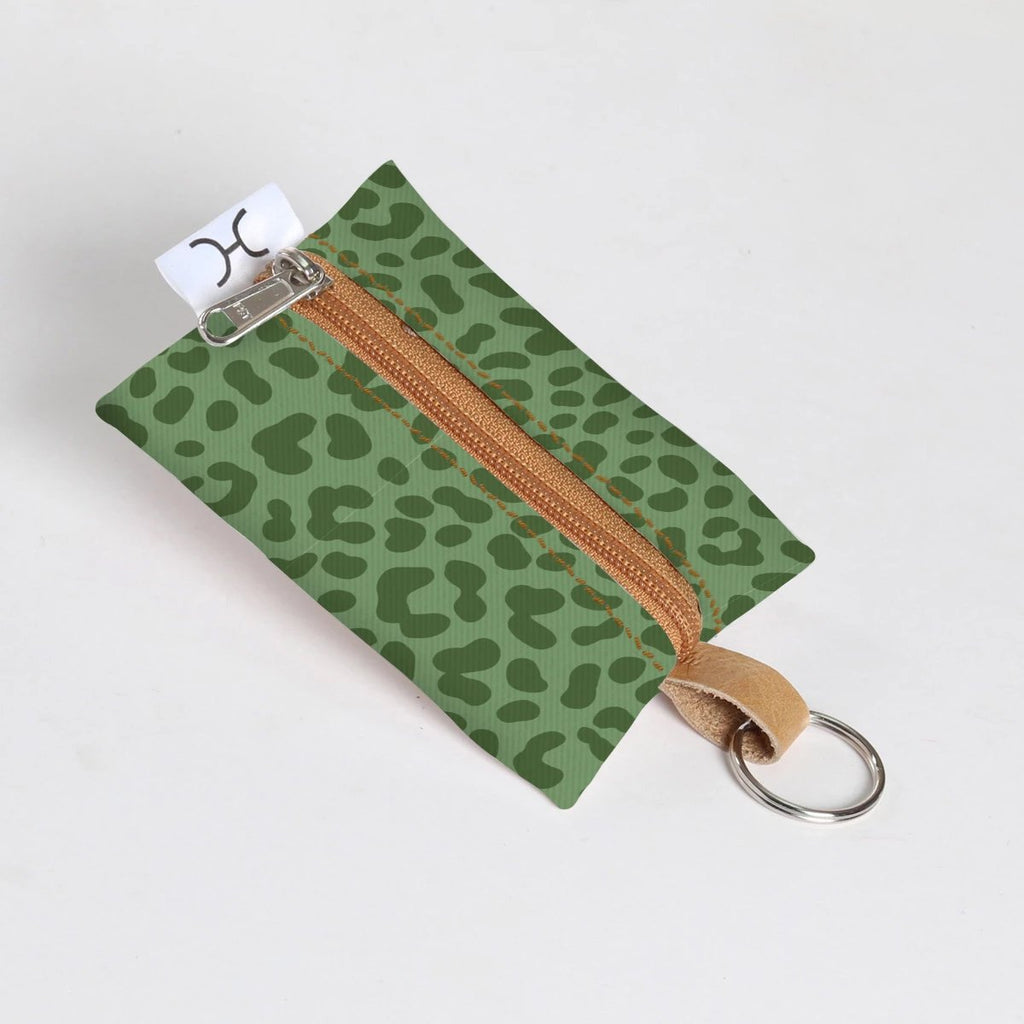 Key Ring Laminated Fabric - Cheetah - Olive