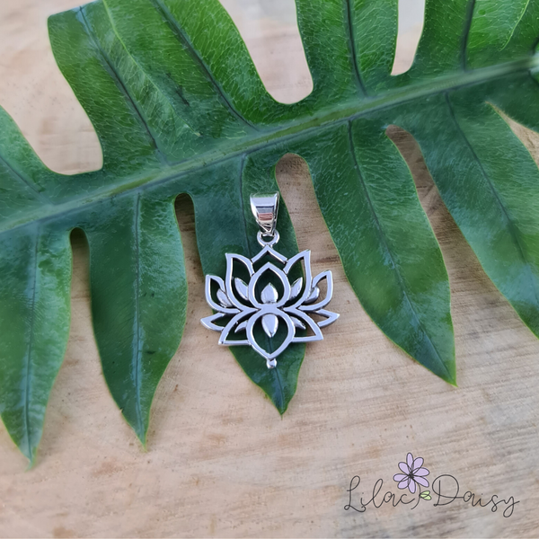 Oxidized Lotus Sterling Silver Pendant