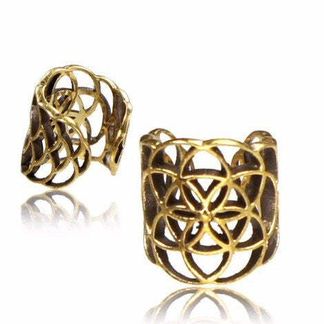 Flower of Life Brass Ear Cuff / Dread Bead