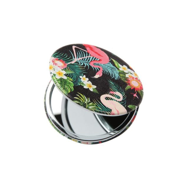 Compact Mirror – Flamingo Print - Black
