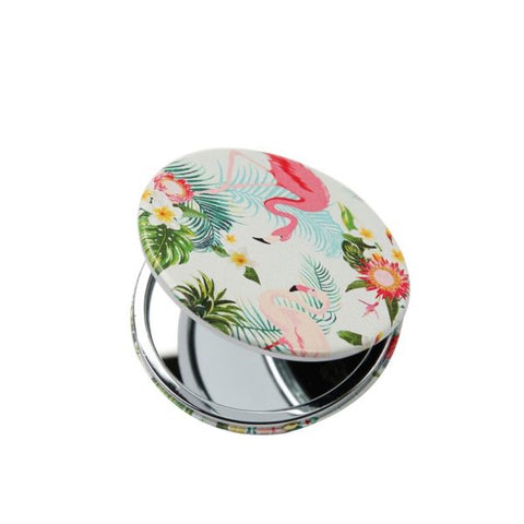 Compact Mirror – Flamingo Print - White
