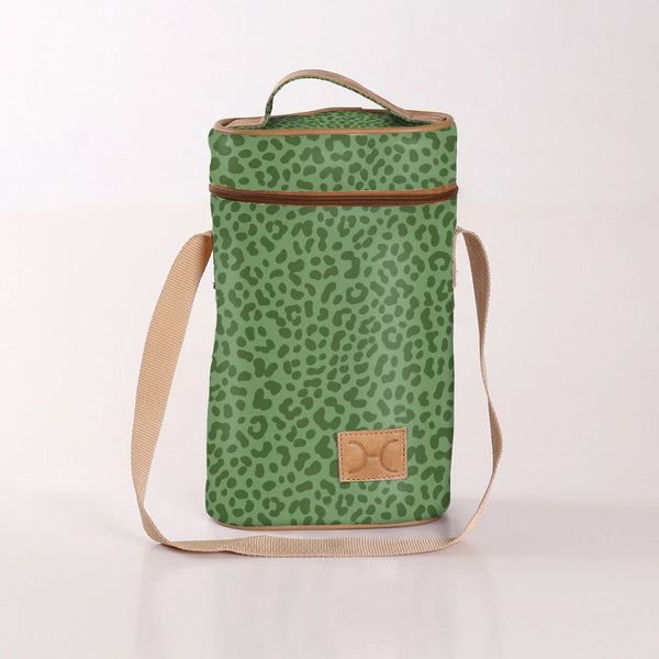 Wine Cooler Double Carry Bag - Laminated Fabric - Cheetah - Green